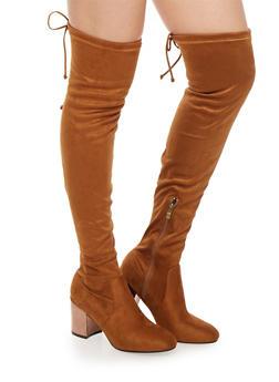 Over the Knee Boots with Mirrored Metallic Heel - 1113073112475