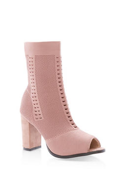 Open Toe Knit High Heel Booties - 1113073117274