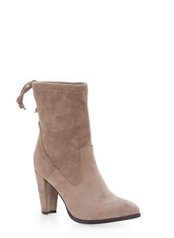 Faux Suede Back Tie Booties - TAUPE - 1113073497675