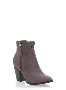 Faux Suede Side Zip Stacked Booties - GRAY - 1113073497833