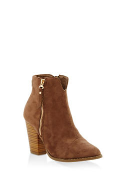 Faux Suede Side Zip Stacked Booties - TAUPE - 1113073497833