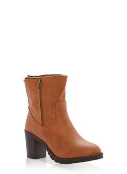 Sweater Lined High Heel Booties - COGNAC - 1113073498139