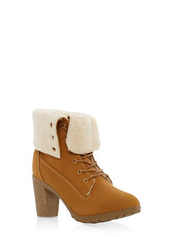 Fold Over Fleece Lined High Heel Work Boots - 1113073498143