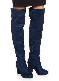 Elastic Lace Up Back Boots - NAVY S - 1113075804343