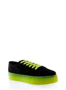 Neon Sole Lace Up Platform Sneakers - BLACK - 1114004066688