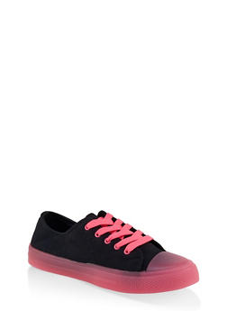 Neon Detail Lace Up Sneakers - NEON PINK - 1114004067845