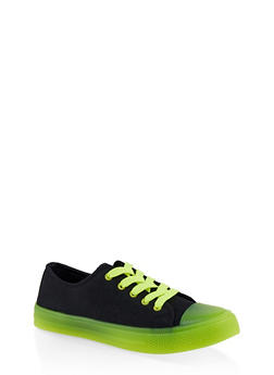 Neon Detail Lace Up Sneakers - NEON YELLOW - 1114004067845