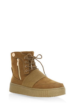 High Top Lace Up Creeper Sneakers - OLIVE F/S - 1114014064860