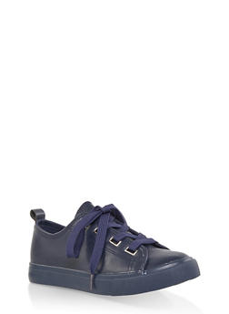 Faux Leather Lace Up Sneakers | 1114062123779 - NAVY - 1114062123779