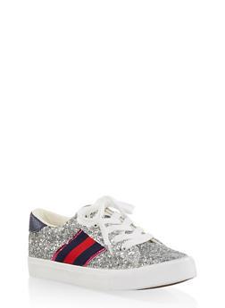 Side Stripe Glitter Lace Up Sneakers - 1114062123780