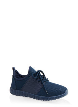 Knit Athletic Lace Up Sneakers - NAVY - 1114062124634