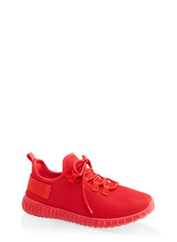 Knit Athletic Lace Up Sneakers - RED - 1114062124634