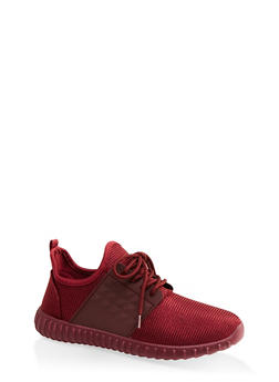 Knit Athletic Lace Up Sneakers - BURGUNDY - 1114062124634