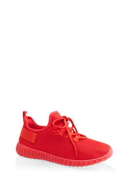 Mesh Lace Up Athletic Sneakers - RED - 1114062125953