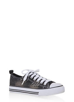 Ripped Canvas Sneakers - BLACK - 1114062126921