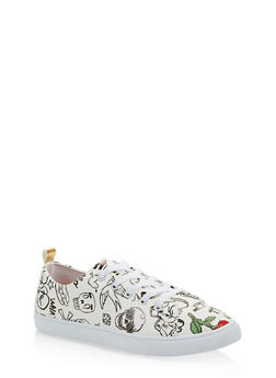 Printed Lace Up Sneakers - WHITE - 1114062720371