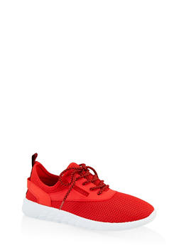 Knit Lace Up Athletic Sneakers - 1114062722676