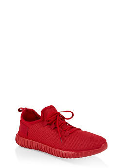 Textured Knit Athletic Sneakers - RED - 1114062723342
