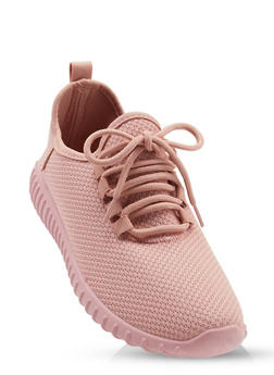 Textured Knit Athletic Sneakers - BLUSH - 1114062723342