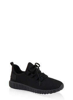 Textured Knit Athletic Sneakers - BLACK - 1114062723343