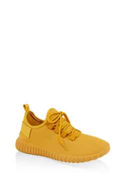 Textured Knit Athletic Sneakers - MUSTARD - 1114062723343