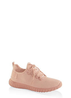 Textured Knit Athletic Sneakers - BLUSH - 1114062723343