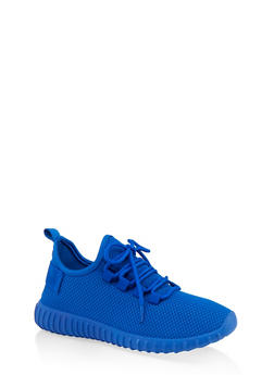 Textured Knit Athletic Sneakers - ELECTRIC BLUE - 1114062723343