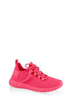 Lace Up Knit Athletic Sneakers - NEON PINK - 1114062723344