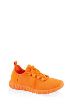 Lace Up Knit Athletic Sneakers - NEON ORANGE - 1114062723344
