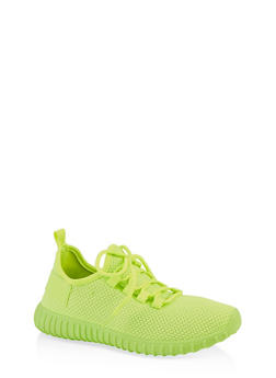 Lace Up Knit Athletic Sneakers - NEON LIME - 1114062723344