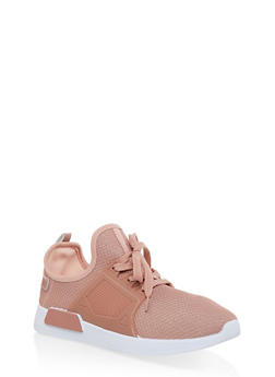 Knit Lace Up Athletic Sneakers - BLUSH - 1114062723463