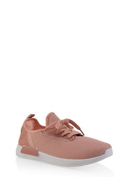 Knit Lace Up Sneakers - BLUSH - 1114062723464
