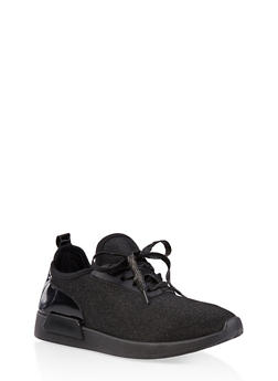 Shimmer Knit Lace Up Sneakers - BLACK - 1114062723467