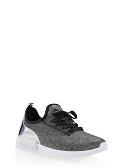 Shimmer Knit Lace Up Sneakers - SILVER - 1114062723467