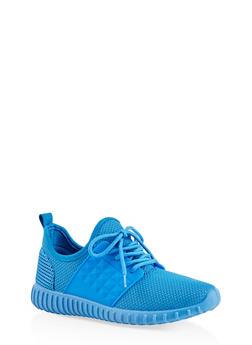 Knit Lace Up Sneakers - BLUE - 1114062723532