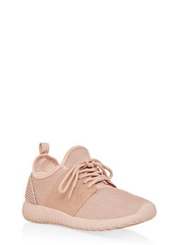 Textured Knit Sneakers - BLUSH - 1114062723533