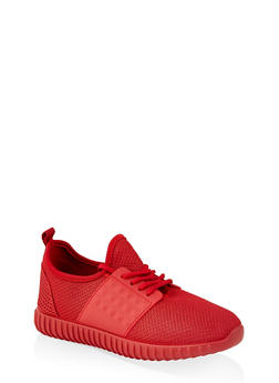 Knit Lace Up Sneakers | 1114062723534 - RED - 1114062723534