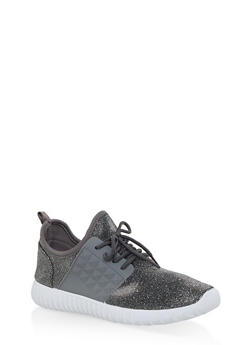 Lace Up Knit Sneakers - SILVER - 1114062723535