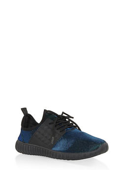 Glitter Knit Lace Up Sneakers - BLUE - 1114062723536