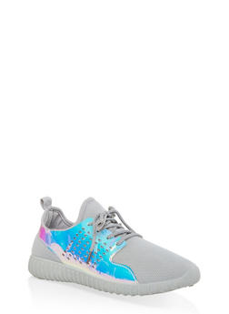 Laser Cut Athletic Sneakers - GRAY - 1114062723537