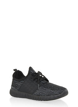 Marled Lace Up Athletic Sneakers - GRAY - 1114062723539