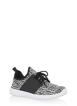 Marled Lace Up Athletic Sneakers - WHITE - 1114062723539