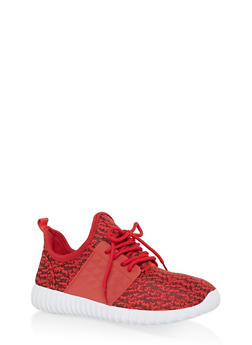 Marled Lace Up Athletic Sneakers - RED - 1114062723539