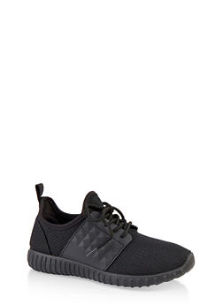 Textured Knit Lace Up Athletic Sneakers - BLACK - 1114062723540