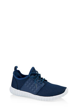 Textured Knit Lace Up Athletic Sneakers - 1114062723540