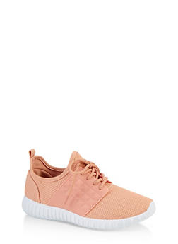 Textured Knit Lace Up Athletic Sneakers - MAUVE - 1114062723540