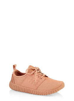 Textured Knit Lace Up Athletic Sneakers - BLUSH - 1114062723540
