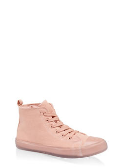 Clear Sole Lace Up High Top Sneakers - BLUSH - 1114062724455