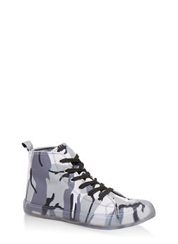 Clear Sole Lace Up High Top Sneakers - 1114062724455