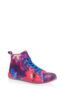 Clear Sole Lace Up High Top Sneakers - MULTI COLOR - 1114062724455